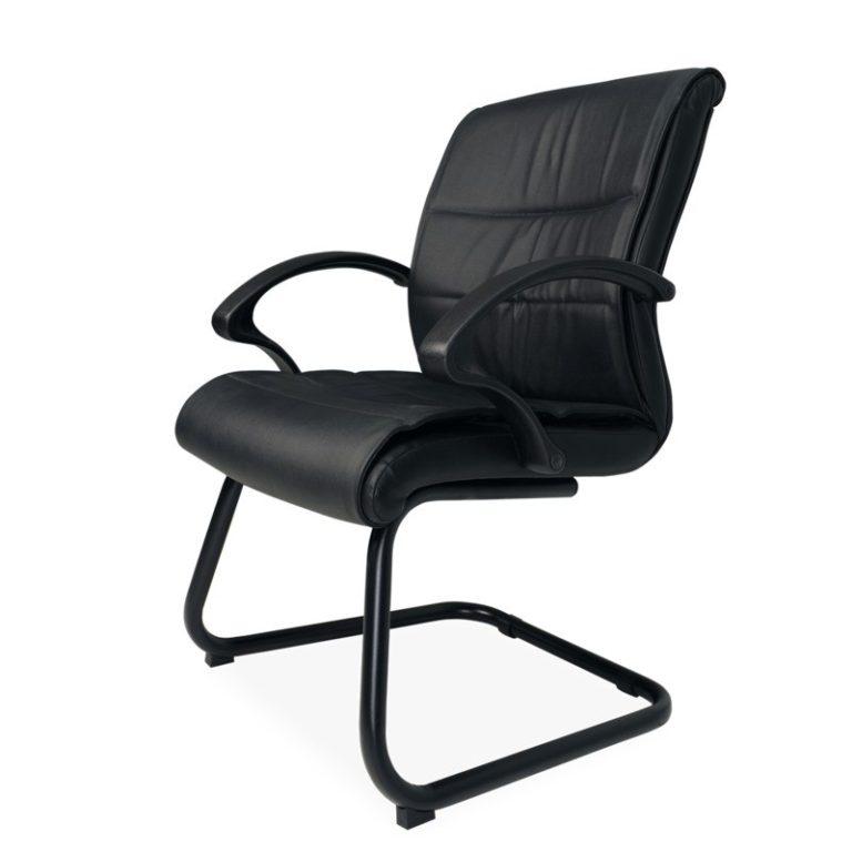 silla de visita con brazos orozco 1103 piel negra