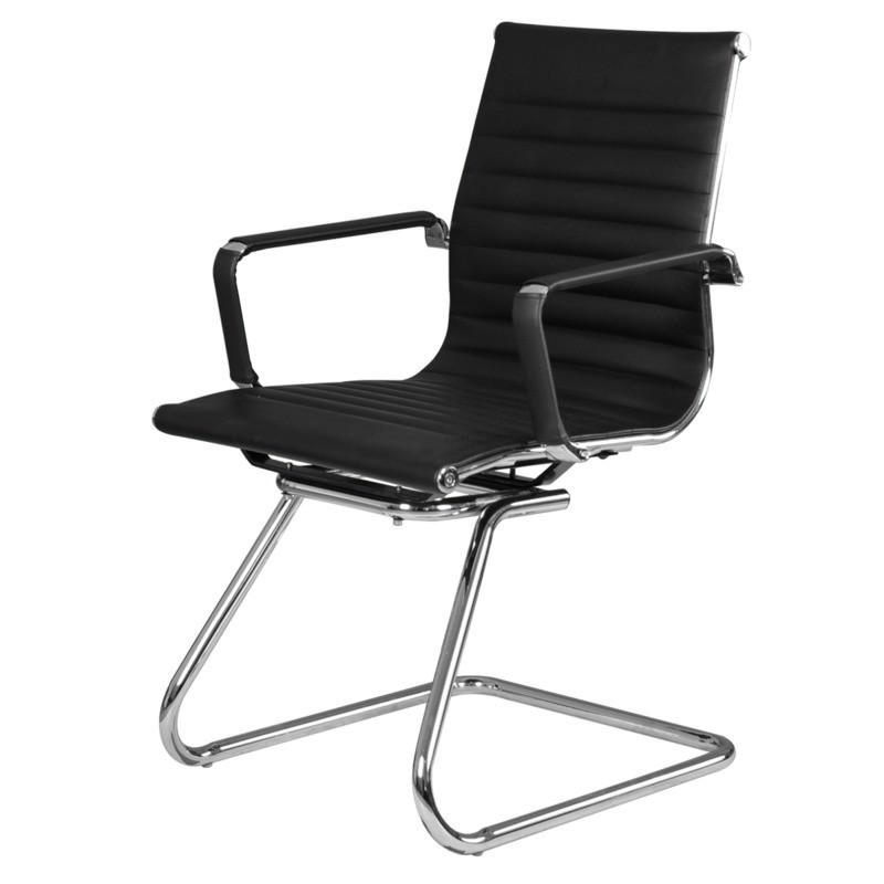 silla visita trineo vista piel sintetica negro 1001v